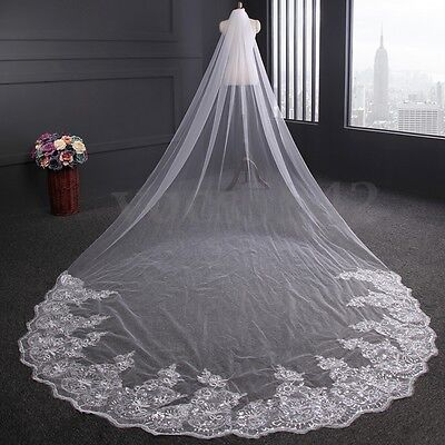 4m White / Ivory Bridal Luxury 1T Cathedral Wedding Lace Sequins Veil With Comb