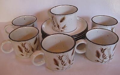 Vintage Midwinter Stonehenge Wild Oats - 6 X Cups And Saucers