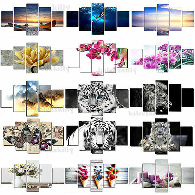 5pcs Modern Canvas Home Wall Decor Art Oil Painting Picture Print Unframed New