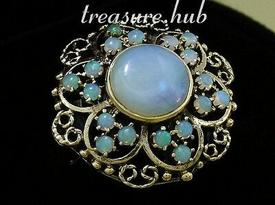 C289 Genuine 9ct SOLID Gold NATURAL Australian Opal Cluster Ring made in yr size