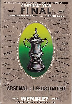 ARSENAL v LEEDS UNITED FA CUP FINAL 6 MAY 1972 SIGNATURE TO COVER ~ ALLAN CLARK?