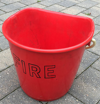 British Army Issue Used 'D' Shaped Red Plastic Fire Bucket for Sand or Water