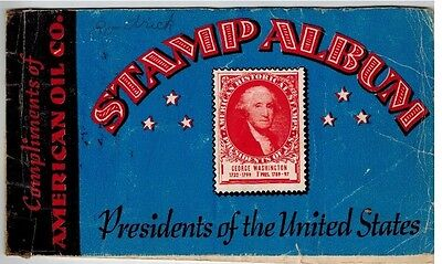1936 Collectible Ad AMOCO American Oil Co Stamp Album, United States Presidents