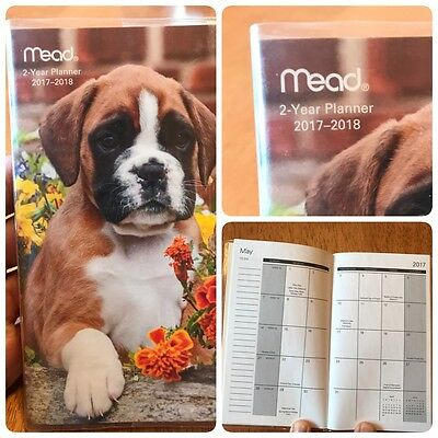 Mead 2- Year Pocket Planner 2017-2018 Puppy With Flowers