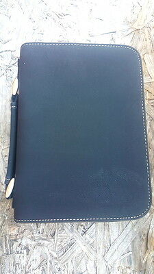 Medium Black Leather Book Bible Cover Handle & Zipper Pen Holder Book Protector