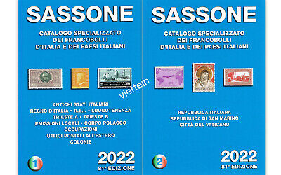 SASSONE CATALOGO SPECIALIZZATO Volume 1+Vol.2  2018