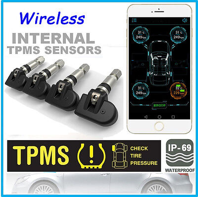 4 Internal Sensors OEM TPMS Car Tire Pressure Alarm Monitor System Android IOS