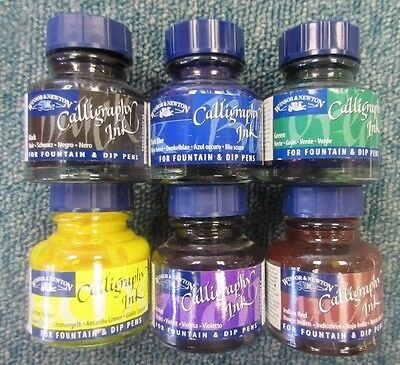 6 x Winsor & Newton Calligraphy Ink for Fountain & Dip Pens