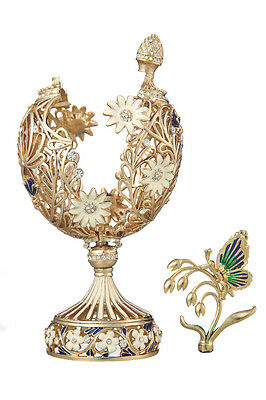 Decorative Faberge Carved Egg with Flowers & Butterfly 6.7'' (17cm) gold color
