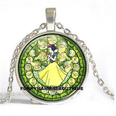 Snow White Kingdom Of Hearts Glass Pendant Necklace Silver Chain In Gift Bag
