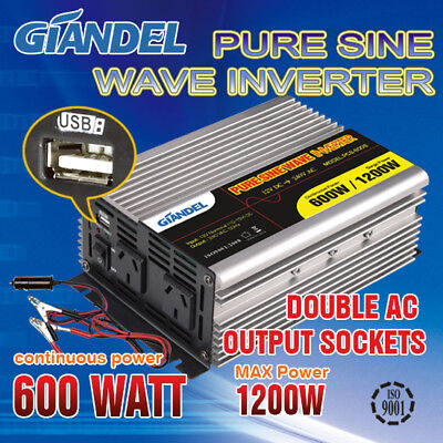 Pure Sine Wave Power Inverter600W/1200W Max12V-240V+2 Cables
