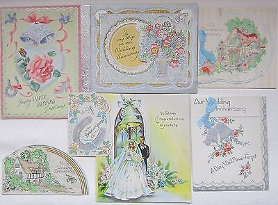 Lot of 7 Vintage Wedding and Wedding Anniversary Greetings Cards