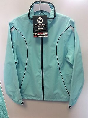 Sunderland ladies waterproof golfing jacket, medium,. Aquamarine.