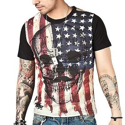 Cool Men's American Skull T Shirt USA Rock band US Flag Pride july 4 Pirates
