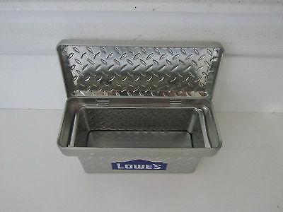 Toy Truck Tool Box Diamond Plate Look Container Metal  Hinged Lid  NEW