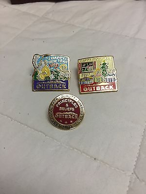 Outback Steakhouse Employee Pin Lot 2007 Holidays, 2008 New Years, Principles...