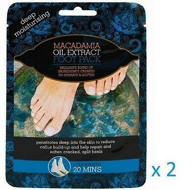 2 x MACADAMIA OIL EXTRACT DEEP MOISTURISING FOOT PACK TREATMENT