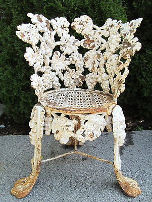 Antique Victorian Cast Iron Ornate Garden Chair Great Old Surface Very Fancy