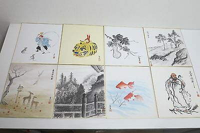 Japanese Shikishi 8pc Art Various Drawing - Japan