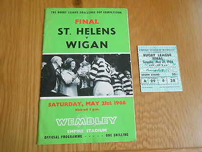 St Helens V Wigan 1966 Cup Final  + Ticket