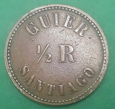 COSTA RICA COFFEE TOKEN 1/2 REAL GUIER SANTIAGO 1870's-1880's