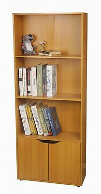 Large Wooden Beach Bookcase Storage Cabinet Shelf Cupboard With Shelves 2 Doors