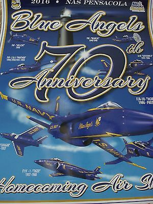 """Official 2016 U.S. Navy Blue Angels """"70th Anniversary Year"""" Homecoming Poster"""