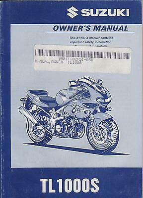 1997 Suzuki Motorcycle Tl1000S Owners Manual P/n 99011-02F51-03A (101)
