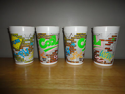 Set of 4 Vintage 1992 PIZZA HUT Plastic Cups Cup FUN COOL WOW HIT THE HUT