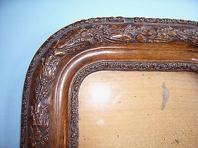 Antique Miniature Walnut & Ornate Composition Picture Frame Old Glass C.1840