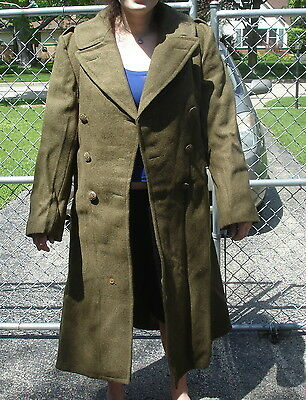 Vintage Army Green Heavy Wool Double Breasted Trench Coat Sz. 40 R Medium