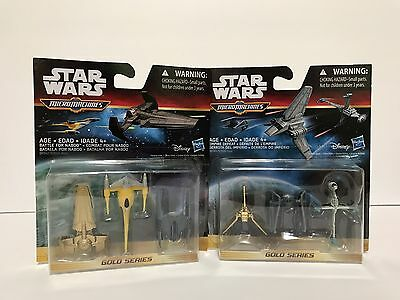 Lot Of 2 Hasbro Micro Machines Star Wars Gold Empire Defeat Battle For Naboo