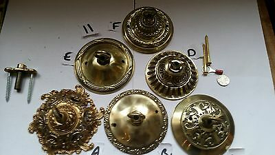 1 of 16 ANTIQUE  cast brass  CEILING ROSE chandelier hook ORNATE stunning C11