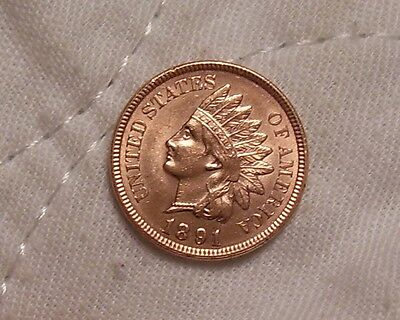 1891 Indian Head Cent: Fully Struck-Lusterous Red Smooth Surfaces-High Grade!