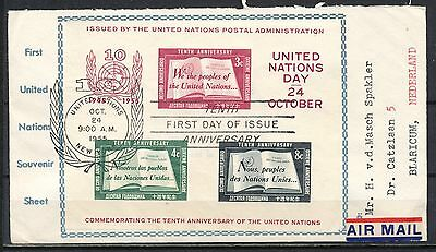 UNITED NATION 1945-1955 SHEETLET FDC OCT.24.1955 AIR MAIL NETHERLANDS      Ms160