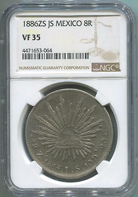 1886 ZS JS Mexico 8 Reales Silver. NGC VF 35.