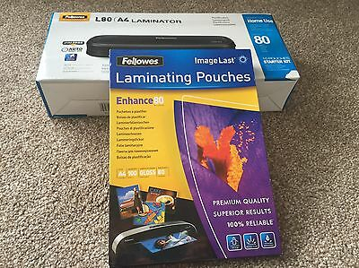 FELLOWES L80 A4 Laminator 160 microns, Black + 100 pouches, Brand New