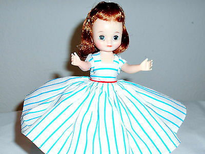 Lovely Tosca Betsy Mccall In Blue&white Striped Sunday Dress/panties&shoes 1957