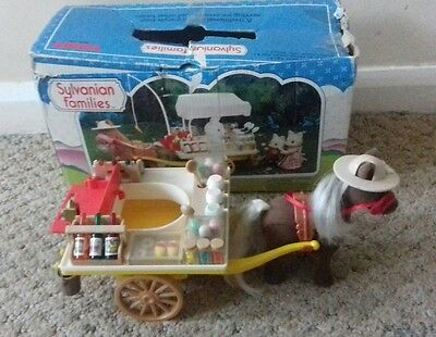 Sylvanian families tomy rare vintage pony and ice cream cart with box