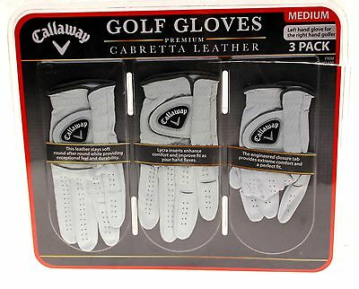 Callaway Cabretta Leather Left Hand Golf Gloves (Medium) 3 Pack