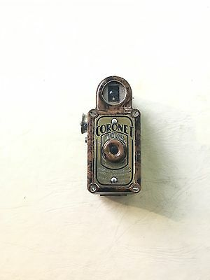 RARE ART DECO CHESTNUT BROWN CORONET MIDGET 16mm BRITISH MADE SPY CAMERA 1930s