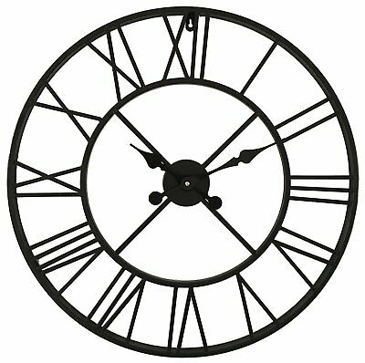 LARGE 60cm TRADITIONAL VINTAGE STYLE IRON WALL CLOCK ROMAN NUMERALS HOME DECOR
