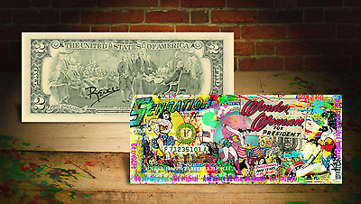 WONDER WOMAN For President DC COMICS Genuine $2 Bill SIGNED by Rency ART Banksy