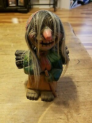 Great Face! Vintage Tagged Heico Rubber Bobblehead Troll/western Germany