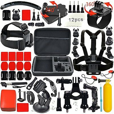 Huge Accessories Kit for GoPro, Action Camera Mounts for GoPro Hero Session 5 4
