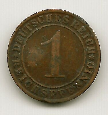 "World Coins - Germany 1 Pfennig 1923 Coin KM# 30 ""Dented"""