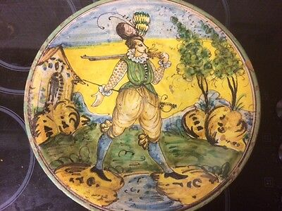 Rare Italian Polychrome Charger Montelupo 1650 Faience Maiolica 17Eme 17Th Cent