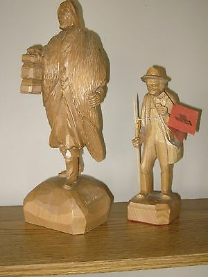 2 Vtg LARGE Hand Carved Wood Figurine Sculpture Men Caron Folk Art Quebec Statue