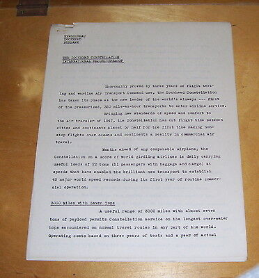 LOCKHEED  CONSTITUTION AIRCRAFT  PRESS RELEASE March 1947