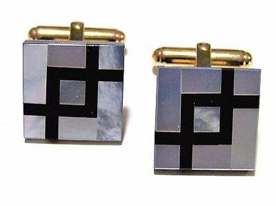 Vintage Inlaid Black Onyx Mother of Pearl Mens Cufflinks Square Cuff Links 317hz